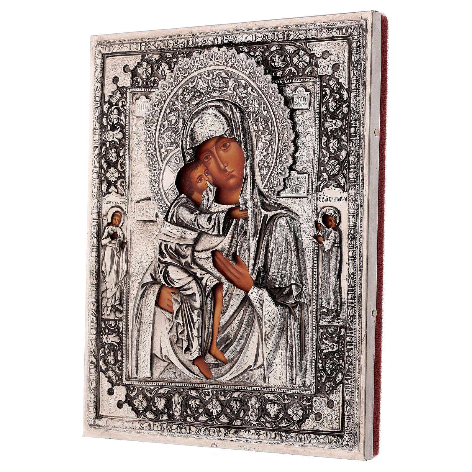 Icona Madonna di Fiodor dipinta 20x16 cm Polonia riza 4