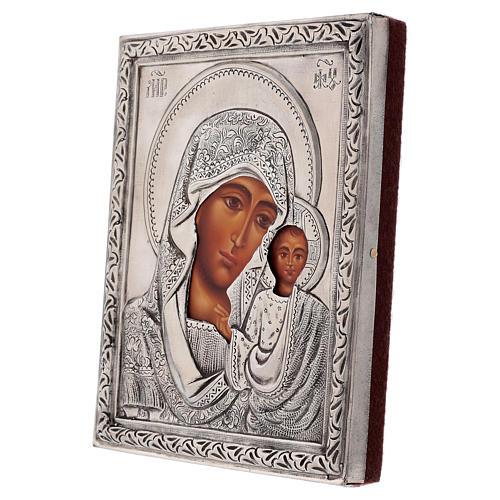 Icône Vierge Kazanskaya riza peinte avec détrempe 16x12 cm Pologne 3