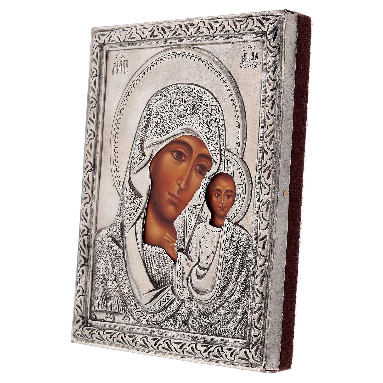 Icona Madonna di Kazan riza dipinta con tempera 16x12 cm Polonia 4