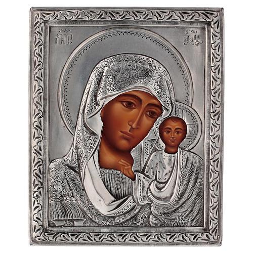 Icona Madonna di Kazan riza dipinta con tempera 16x12 cm Polonia 1