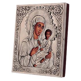 Icona Madonna di Tychvin dipinta con riza 16x12 cm Polonia s3