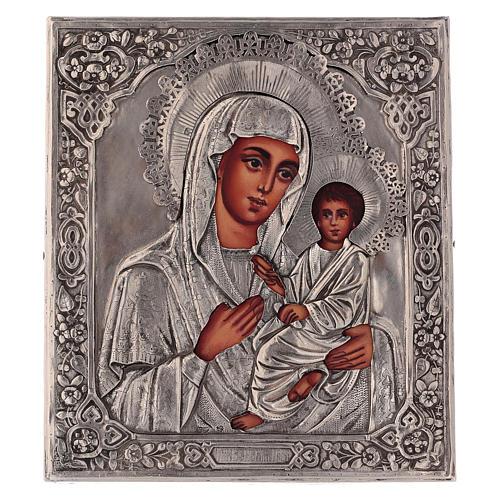 Icona Madonna di Tychvin dipinta con riza 16x12 cm Polonia 1