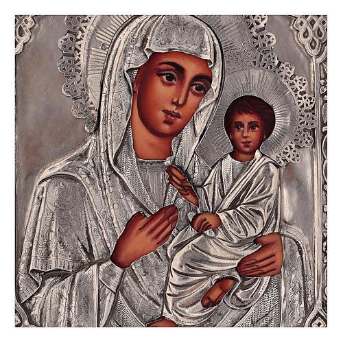 Icona Madonna di Tychvin dipinta con riza 16x12 cm Polonia 2