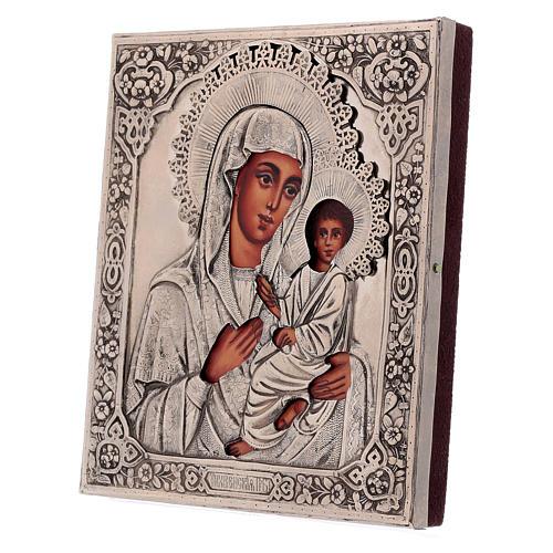Icona Madonna di Tychvin dipinta con riza 16x12 cm Polonia 3
