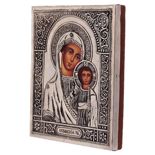 Icône Vierge de Kazan peinte à la main avec riza 16x12 cm Pologne 3