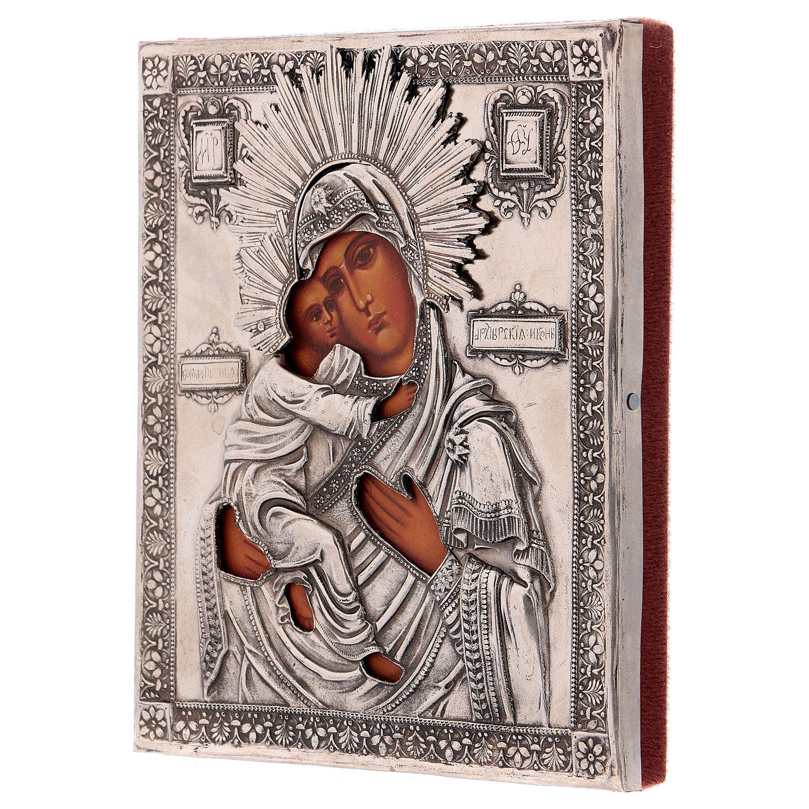 Icona Vergine di Vladmir dipinta con riza 16x12 cm Polonia 4