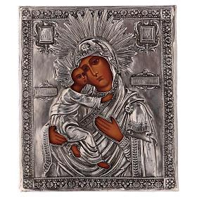 Icona Vergine di Vladmir dipinta con riza 16x12 cm Polonia s1