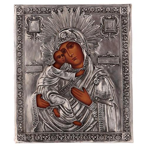 Icona Vergine di Vladmir dipinta con riza 16x12 cm Polonia 1