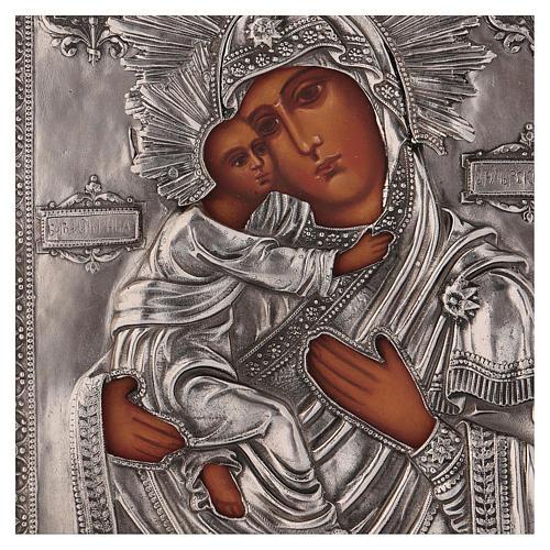 Icona Vergine di Vladmir dipinta con riza 16x12 cm Polonia 2