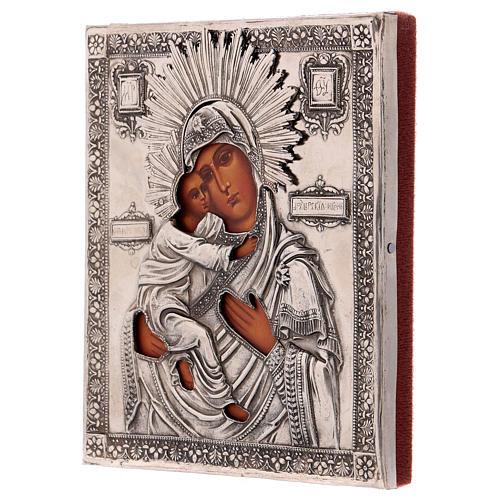 Icona Vergine di Vladmir dipinta con riza 16x12 cm Polonia 3