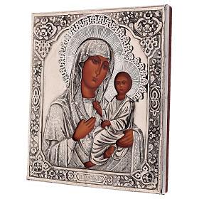 Icône Vierge de Tikhvine peinte à la main avec riza 20x16 cm Pologne s3