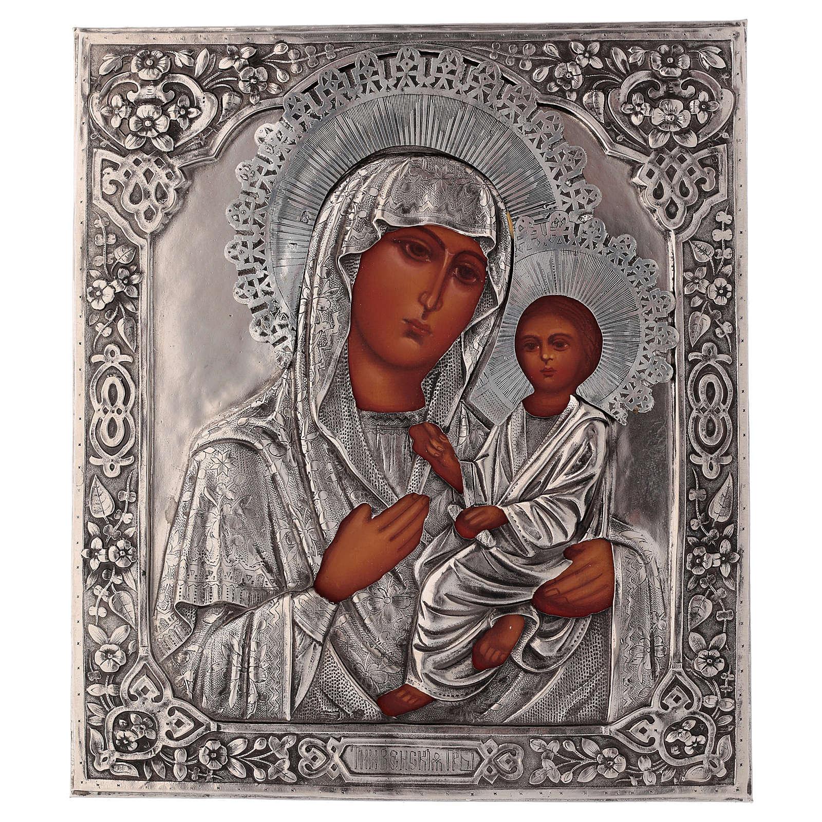 Icona Vergine di Tychvin dipinta a mano con riza 20x16 cm Polonia 4