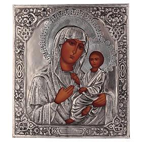 Icona Vergine di Tychvin dipinta a mano con riza 20x16 cm Polonia s1
