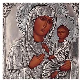 Icona Vergine di Tychvin dipinta a mano con riza 20x16 cm Polonia s2