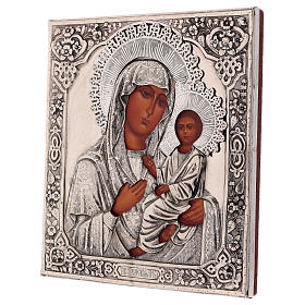 Icona Vergine di Tychvin dipinta a mano con riza 20x16 cm Polonia s3