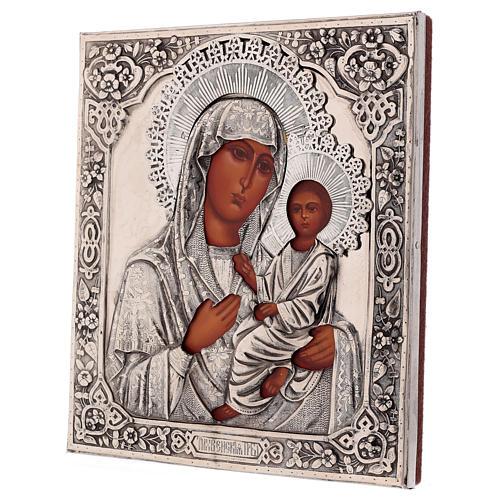 Icona Vergine di Tychvin dipinta a mano con riza 20x16 cm Polonia 3
