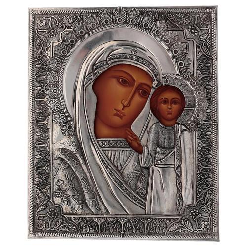 Icona Vergine di Kazan dipinta con riza 20x16 cm Polonia 1