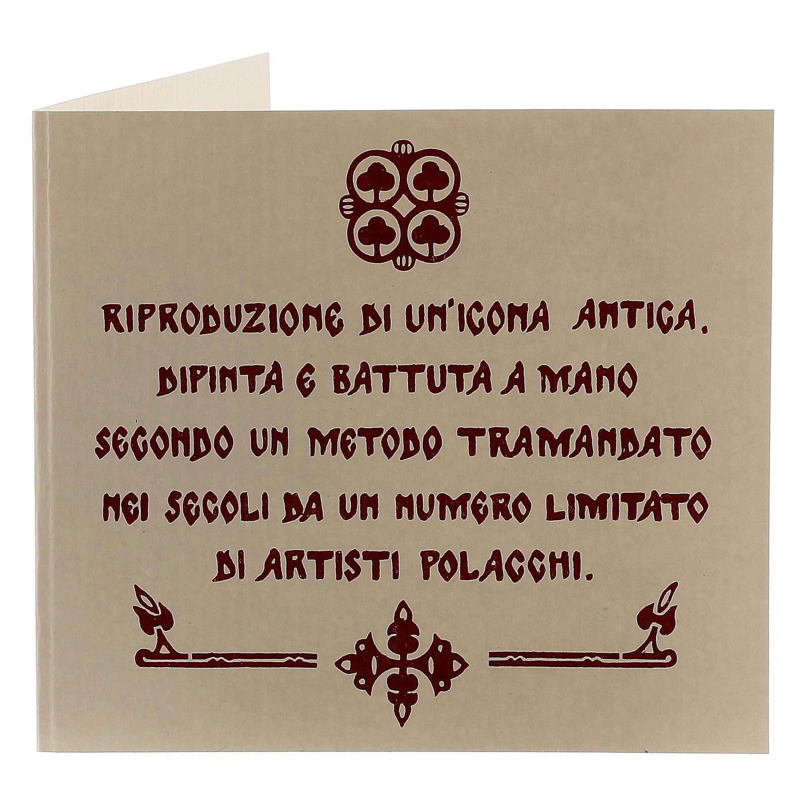 Icona Cristo libro aperto dipinto con riza 16x12 cm Polonia 4