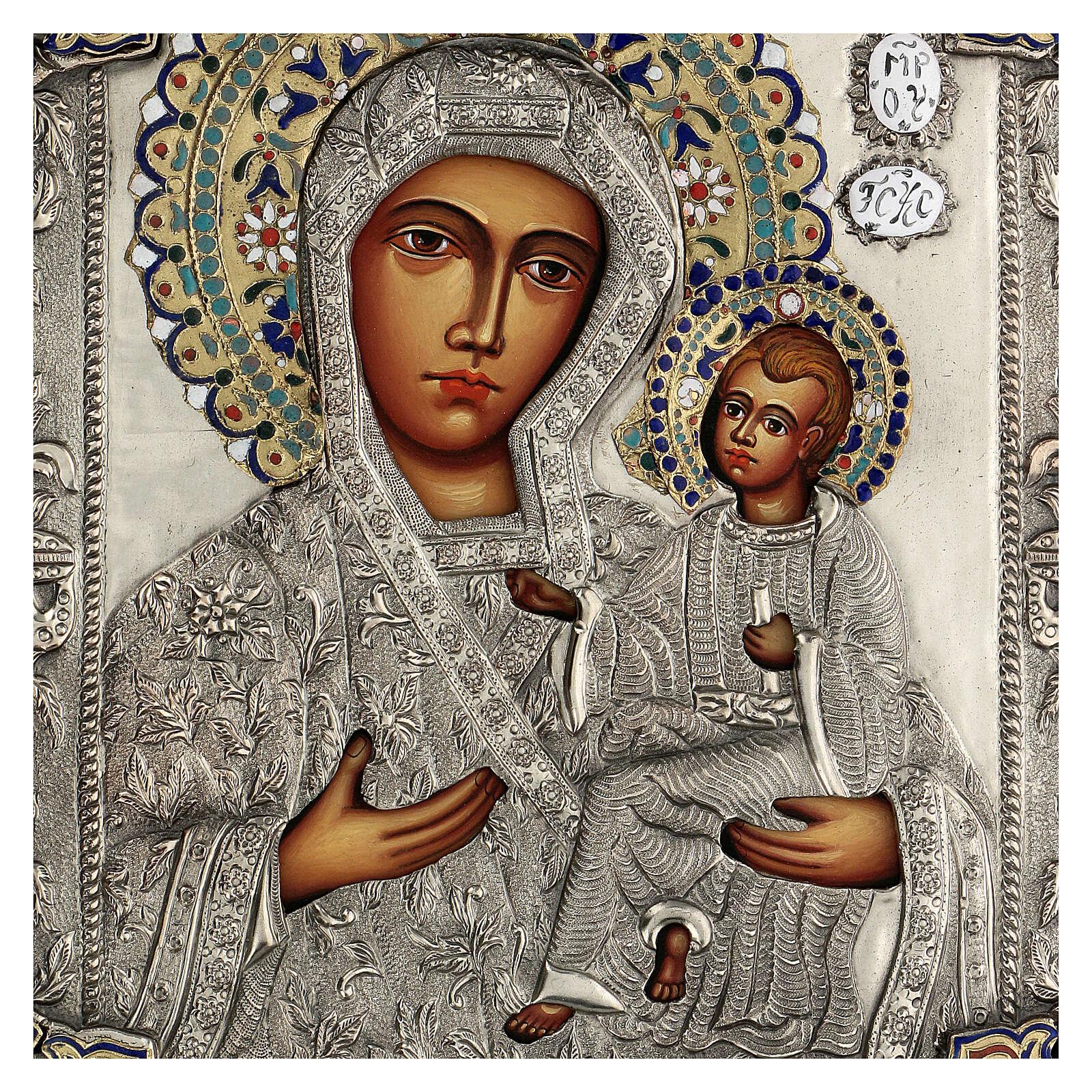 Madonna Odigitria icona dipinta riza polacca 30X20 cm 4