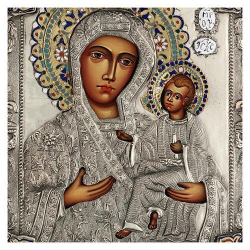Madonna Odigitria icona dipinta riza polacca 30X20 cm 2