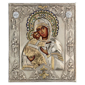 Madonna Vladimir icona dipinta riza polacca 30X20 cm s1