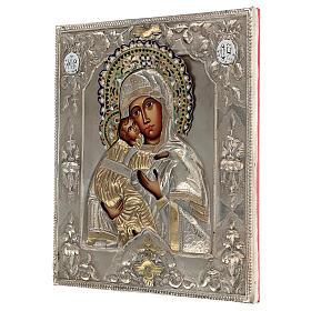 Madonna Vladimir icona dipinta riza polacca 30X20 cm s3
