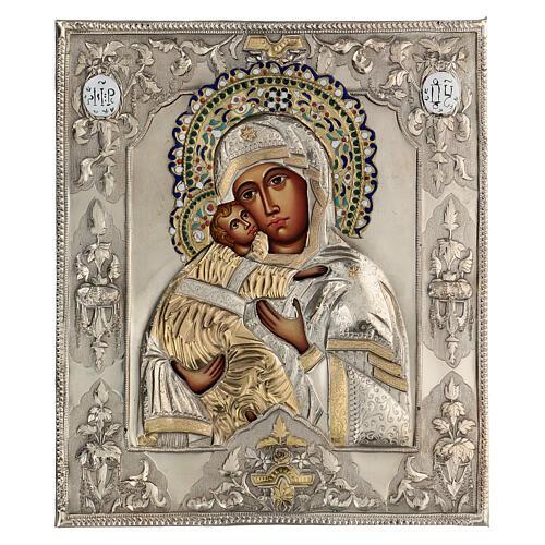 Madonna Vladimir icona dipinta riza polacca 30X20 cm 1