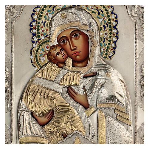 Madonna Vladimir icona dipinta riza polacca 30X20 cm 2