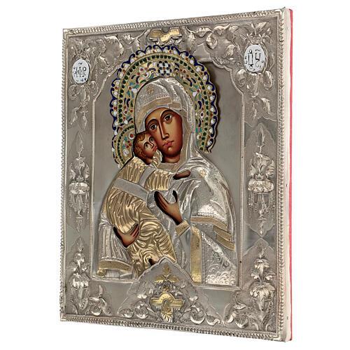Madonna Vladimir icona dipinta riza polacca 30X20 cm 3