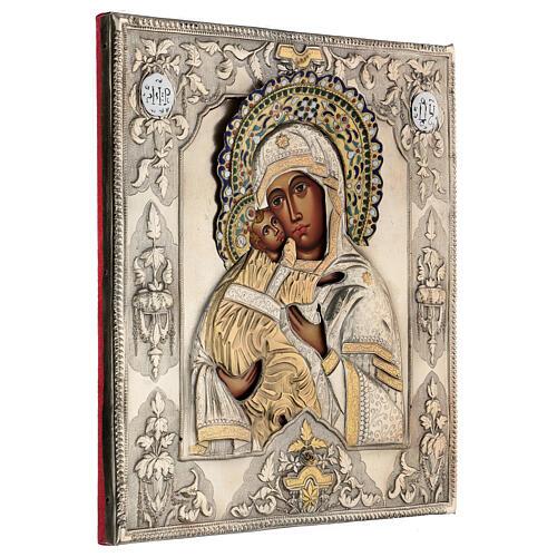 Madonna Vladimir icona dipinta riza polacca 30X20 cm 4