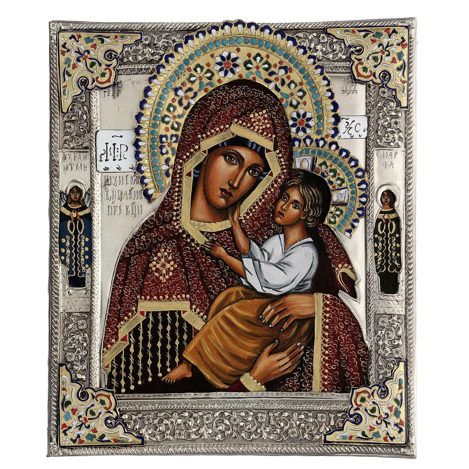 Madonna Blogoslawiona riza dipinta 30X20 cm Polonia 4