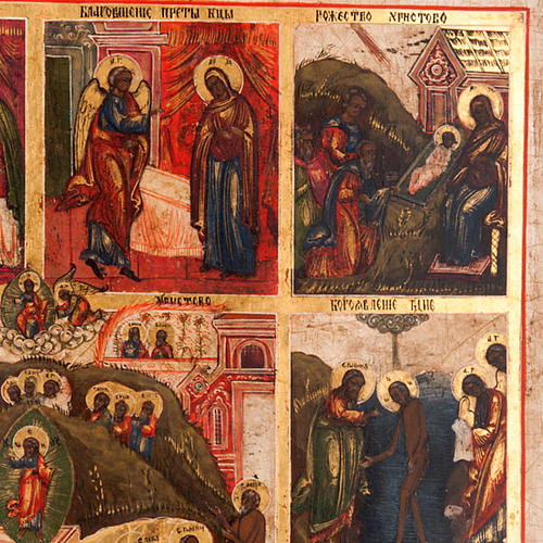 Antique icon 'The 12 great feasts of the liturgical year&#0 4