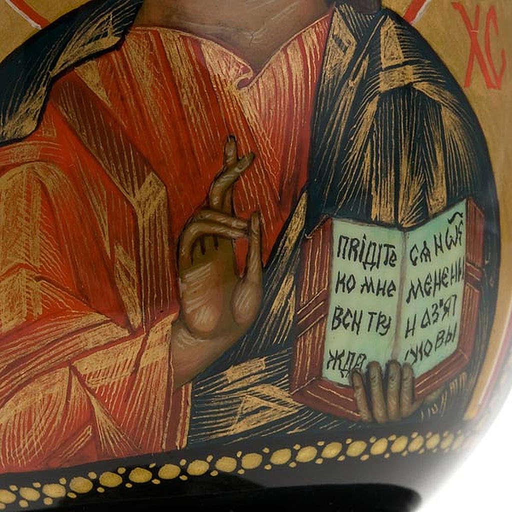 Uovo icona Palekh Madonna Kazan e Pantocratore 17 cm 4