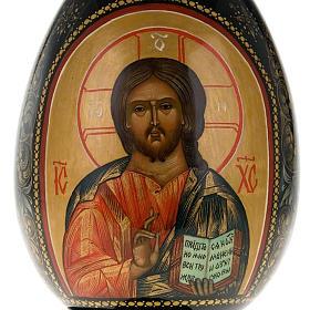 Uovo icona Palekh Madonna Kazan e Pantocratore 17 cm s3