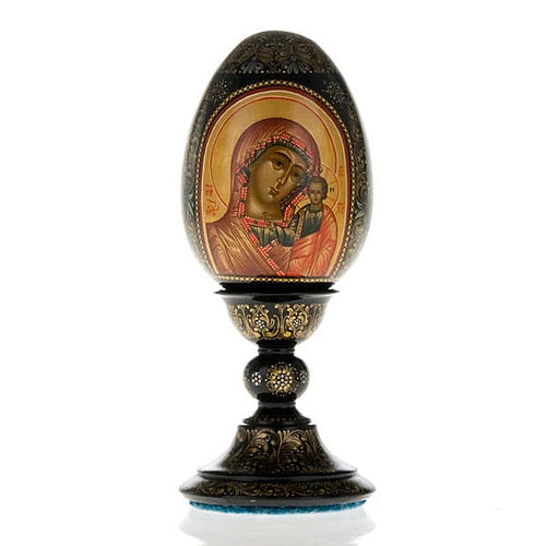 Uovo icona Palekh Madonna Kazan e Pantocratore 17 cm 1