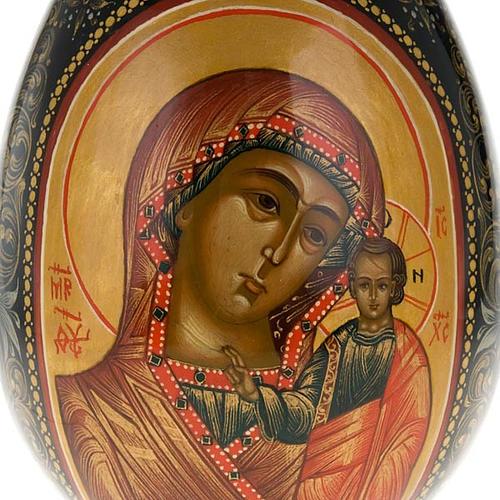 Uovo icona Palekh Madonna Kazan e Pantocratore 17 cm 2