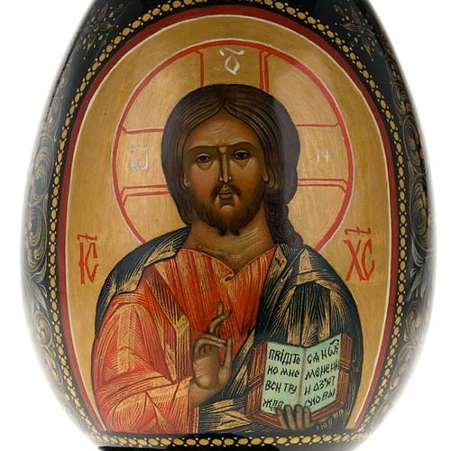 Uovo icona Palekh Madonna Kazan e Pantocratore 17 cm 3