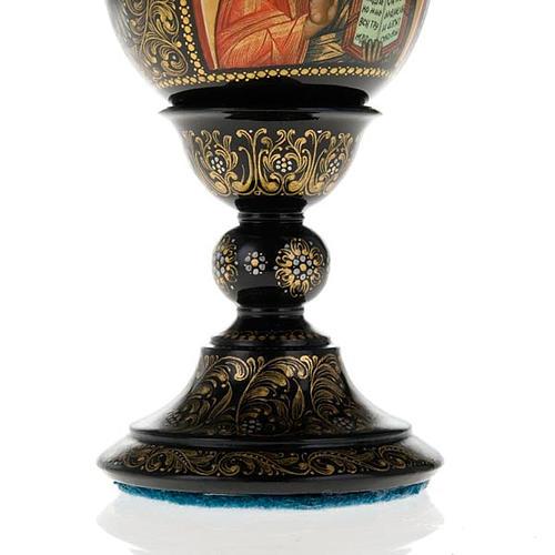 Uovo icona Palekh Madonna Kazan e Pantocratore 17 cm 10