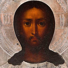 Icona antica russa Pantocratore riza argento con punzone s3