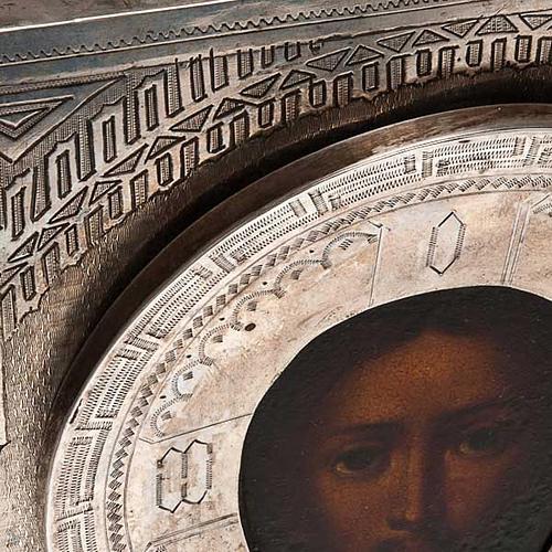 Icona antica russa Pantocratore riza argento con punzone 5