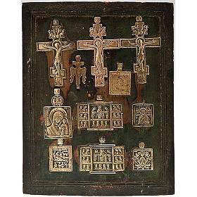 Stauroteca antica russa 11 bronzi da XVI a XVIII secolo s1