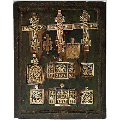 Stauroteca antica russa 11 bronzi da XVI a XVIII secolo 1
