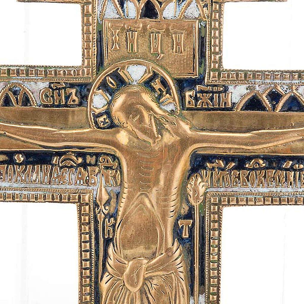 Crocifisso ortodosso antico in bronzo XVIII secolo 4