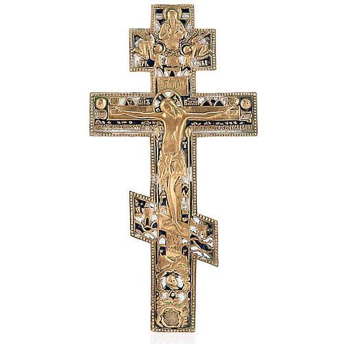 Crocifisso ortodosso antico in bronzo XVIII secolo 1