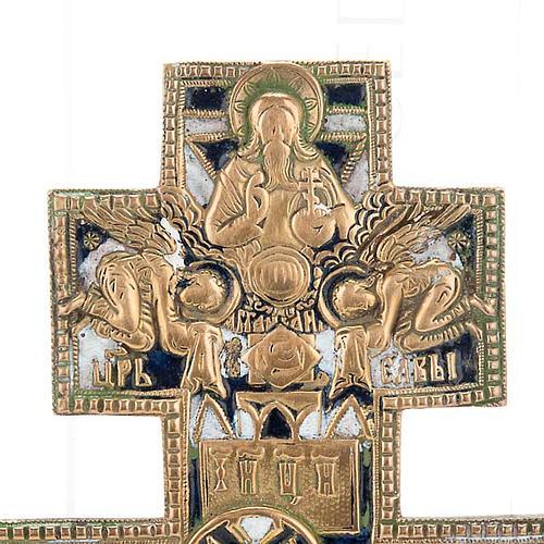 Crocifisso ortodosso antico in bronzo XVIII secolo 2