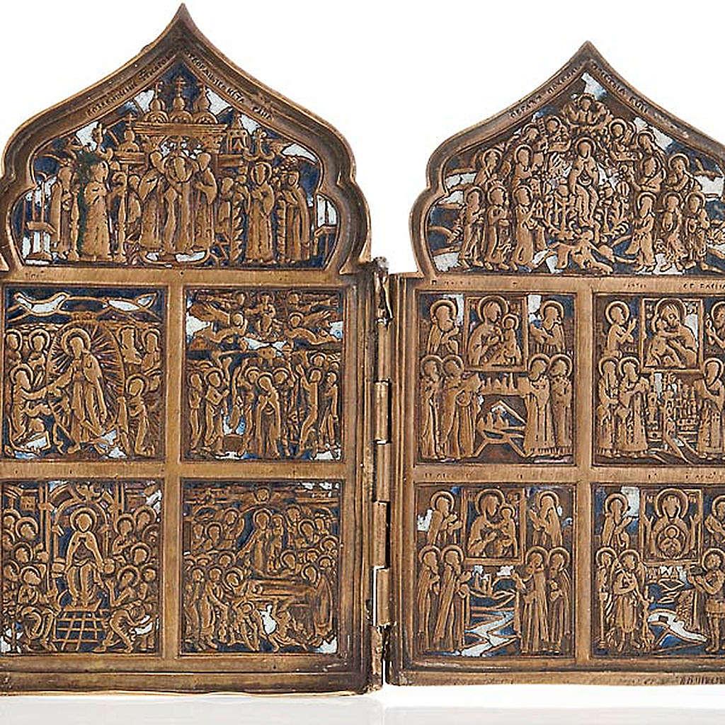 Icona antica quadripartita da viaggio bronzo XIX secolo 4
