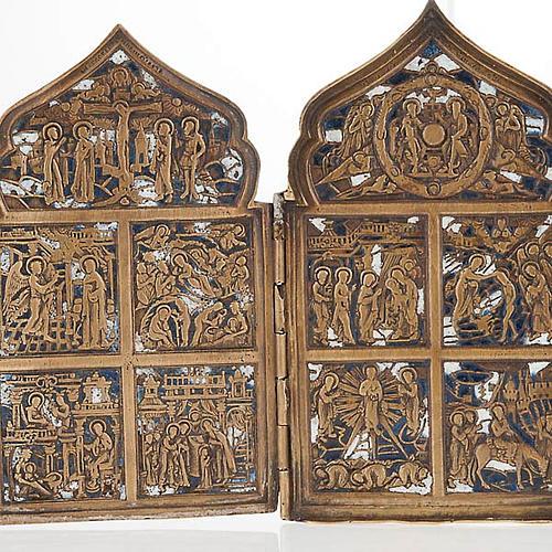 Icona antica quadripartita da viaggio bronzo XIX secolo 2