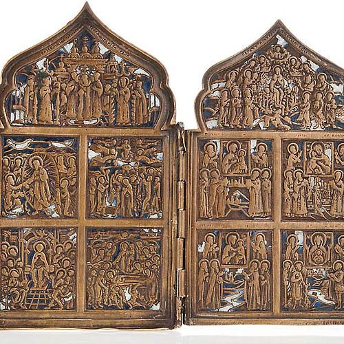 Icona antica quadripartita da viaggio bronzo XIX secolo 3