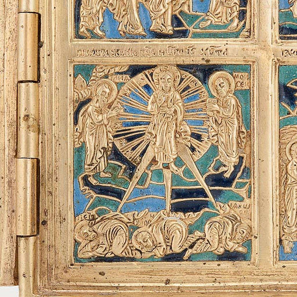 Icona quadripartita da viaggio antica bronzo XIX secolo 4