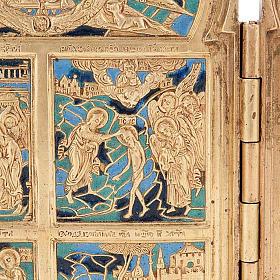 Icona quadripartita da viaggio antica bronzo XIX secolo s4